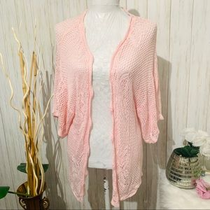 Investment Pink Oversized Crochet Cardigan Small